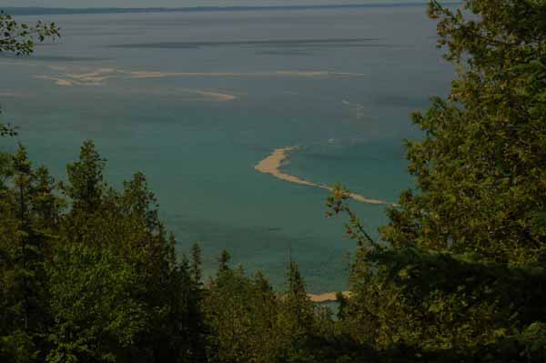 Lake Michigan through the trees